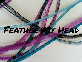 "Feather Hair Extensions - 16 Pc Mix Of Thin Fashion Euro Feathers - Long 9"" -12"" (23-30cm) Black Blue Purple Turquoise - Enchanted Collection - Love Potion - Optional Do It Yourself Kit"
