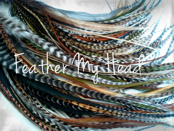 """Feather Hair Extensions - 16 Pc Mix Of Thin Fashion Euro Feathers - Long 9"""" -12"""" (23-30cm) Browns Greens Golds - Feather Junkie Collection - Wild Thing - Optional Do It Yourself Kit"""