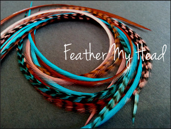 """Feather Hair Extensions - 16 Pc Mix Of Thin Fashion Euro Feathers - Long 9"""" -12"""" (23-30cm) Coral - Brown - Turquoise - Feather Junkie Collection - Sante Fe - Optional Do It Yourself Kit"""