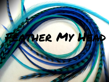 """Feather Hair Extensions - 16 Pc Mix Of Thin Fashion Euro Feathers - Long 9"""" -12"""" (23-30cm) Blues - Boho Collection - River Dance - Optional Do It Yourself Kit"""
