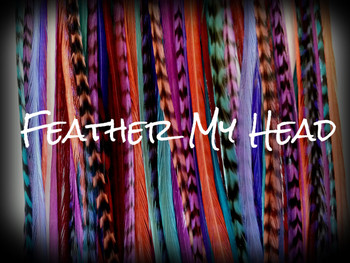 "Feather Hair Extensions - 16 Pc Mix Of Thin Fashion Euro Feathers - Long 9"" -12"" (23-30cm) Blue Brown Purple Red White - Boho Collection - Hippie Shake - Optional Do It Yourself Kit"