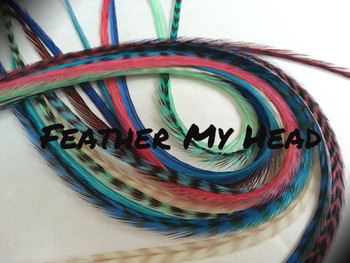 """Feather Hair Extensions - 16 Pc Mix Of Thin Fashion Euro Feathers - Long 9"""" -12"""" (23-30cm) Blue Brown Pink Green White - Boho Collection - Boho Love - Optional Do It Yourself Kit"""