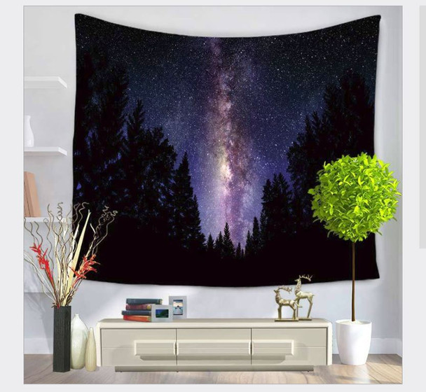 Blue And Purple Milky Way Night Forest Sky- Tapestry - Large 150 x 130 cm