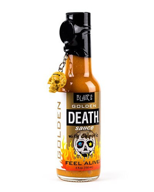 Blair's Golden Death Sauce with Chipotle and Skull Key Chain