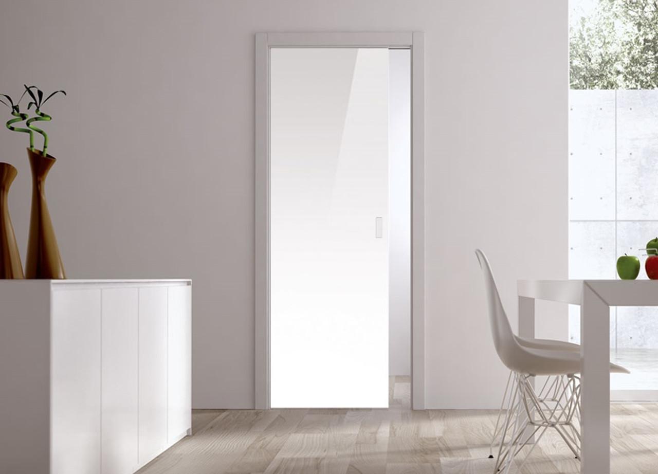 Zeer Classic 10mm Glass Pocket Door System Coloured WHITE (RAL 9010 UF24
