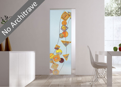 Syntesis® Flush Glass Pocket Door System Handpainted GEOMETRIE