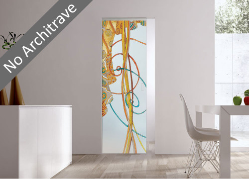 Syntesis® Flush Glass Pocket Door System Handpainted FANTASIE