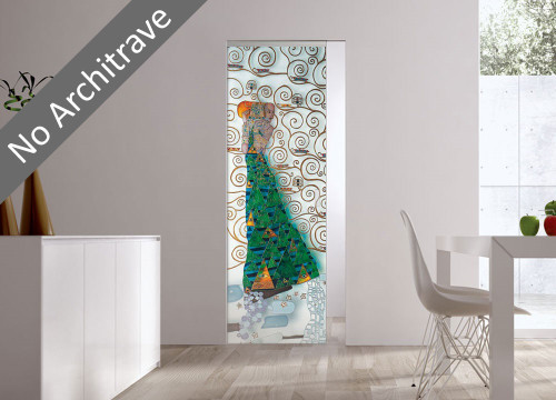 Syntesis® Flush Glass Pocket Door System Handpainted DEDICATO A KLIMT