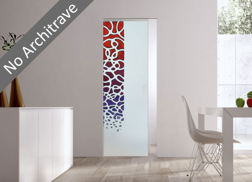 Syntesis® Flush Glass Pocket Door System Handpainted SARETA