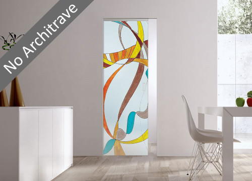 Syntesis® Flush Glass Pocket Door System Handpainted VOLATILE