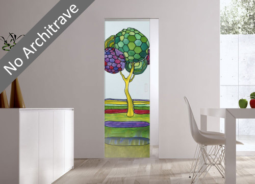 Syntesis® Flush Glass Pocket Door System Handpainted BEIRA