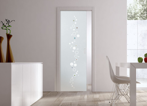 Classic Glass Pocket Door System Patterned BRIO