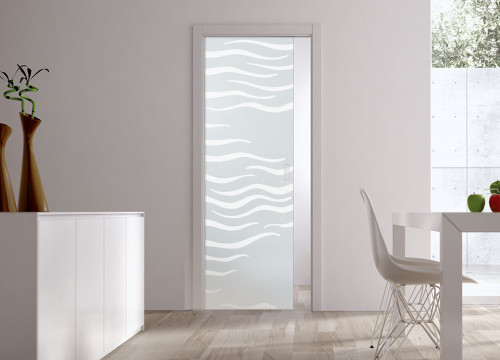 Classic Glass Pocket Door System Patterned ALGA