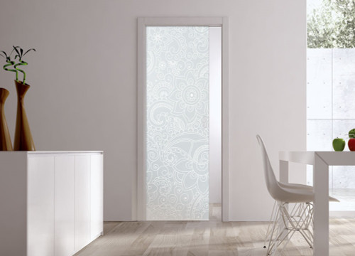 Classic Glass Pocket Door System Patterned BOMBAY