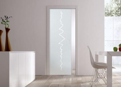 Classic Glass Pocket Door System Patterned CRASH