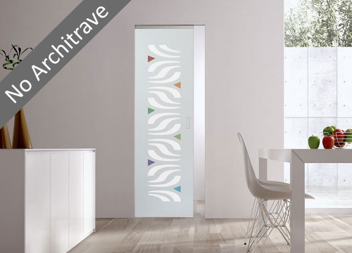 Syntesis® Flush Glass Pocket Door System Patterned ALA