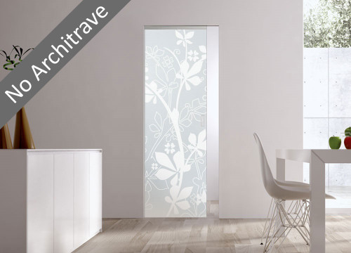 Syntesis® Flush Glass Pocket Door System Patterned JUNGLE