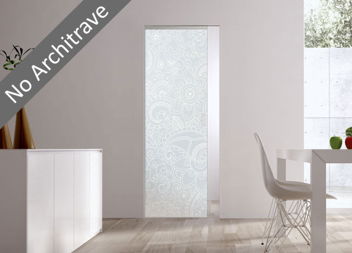 Syntesis® Flush Glass Pocket Door System Patterned BOMBAY
