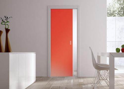 Classic Glass Pocket Door System Coloured SATIN ORANGE