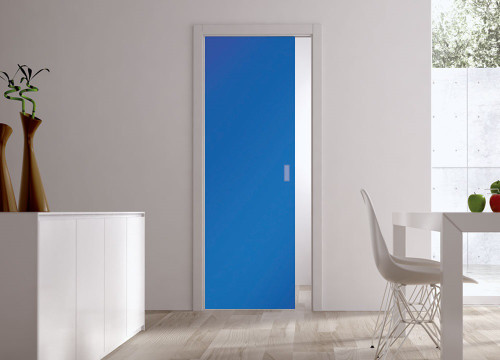 Classic Glass Pocket Door System Coloured SATIN BLUE