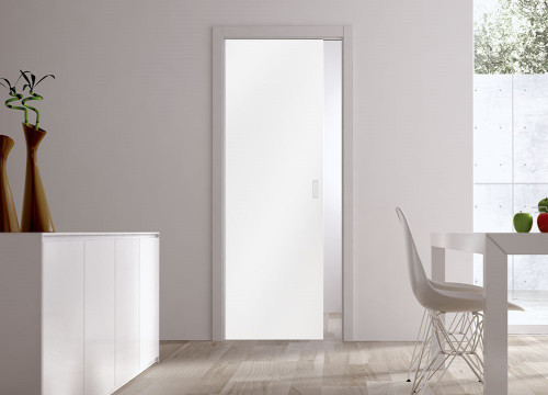 Classic Glass Pocket Door System Coloured SATIN WHITE