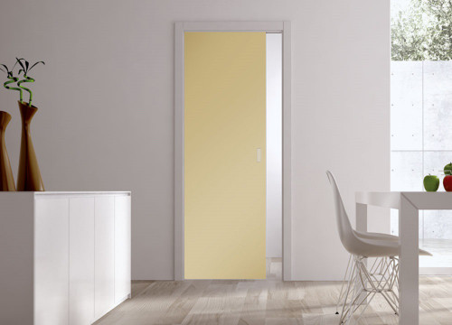 Classic Glass Pocket Door System Coloured SATIN AMBER