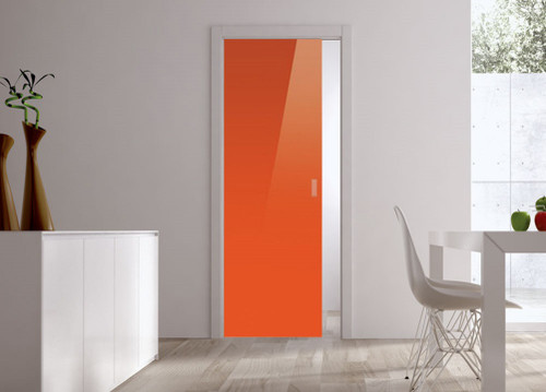 Classic Glass Pocket Door System Coloured ORANGE (RAL 2001)