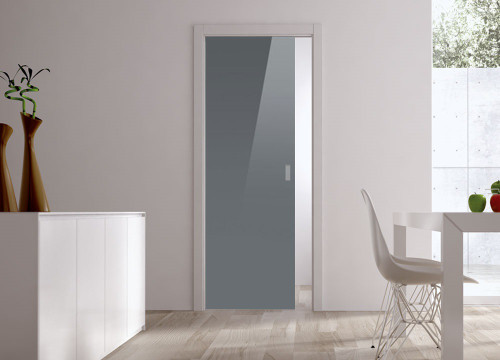Classic Glass Pocket Door System Coloured GREY (RAL 7024)