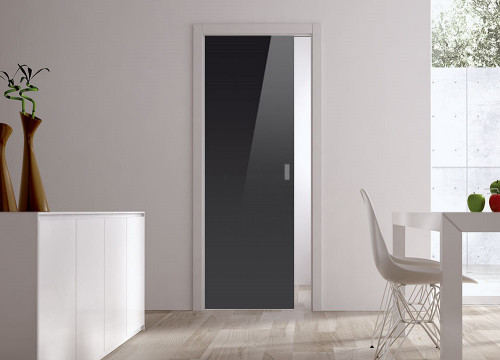 Classic Glass Pocket Door System Coloured BLACK (RAL 9005)