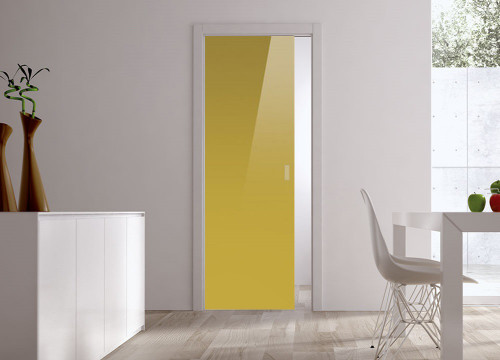 Classic Glass Pocket Door System Coloured YELLOW-GREEN (RAL 1027)