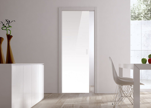 Classic Glass Pocket Door System Coloured WHITE (RAL 9010)
