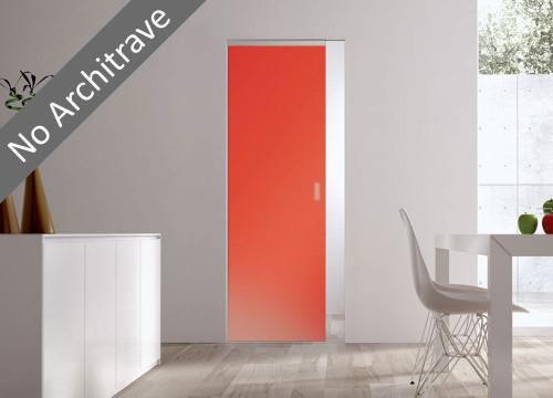 Syntesis® Flush Glass Pocket Door System Coloured SATIN ORANGE