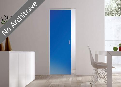Syntesis® Flush Glass Pocket Door System Coloured SATIN BLUE