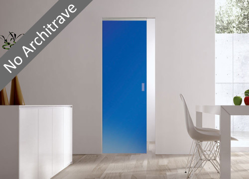 Syntesis® Flush Glass Pocket Door System Coloured SATIN BLUE