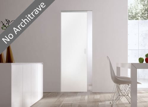Syntesis® Flush Glass Pocket Door System Coloured SATIN WHITE