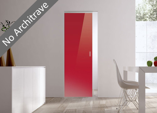 Syntesis® Flush Glass Pocket Door System Coloured RED (RAL 3003)