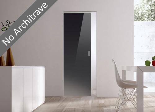 Syntesis® Flush Glass Pocket Door System Coloured BLACK (RAL 9005)