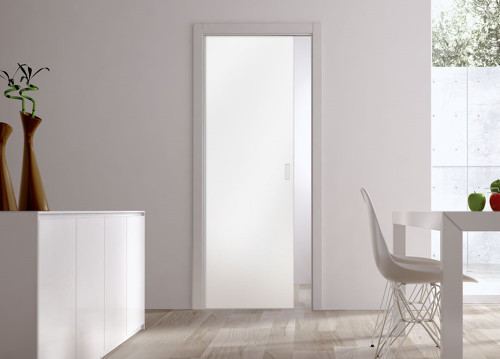Classic Glass Pocket Door System with 10mm Plain Satin Glass Door
