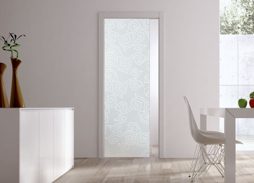 Classic 10mm Glass Pocket Door System Patterned BIRMANIA