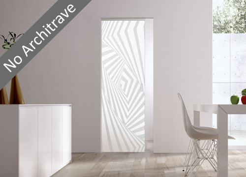Syntesis® Flush Glass Pocket Door System Patterned AVALON