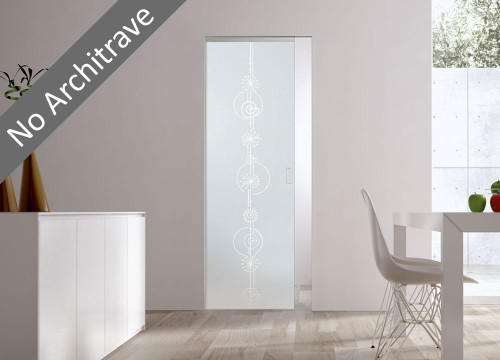 Syntesis® Flush Glass Pocket Door System Patterned FIREWORKS