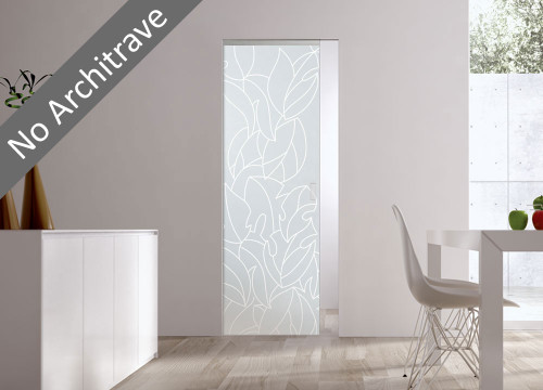 Syntesis® Flush  Glass Pocket Door System Patterned MAYLEA