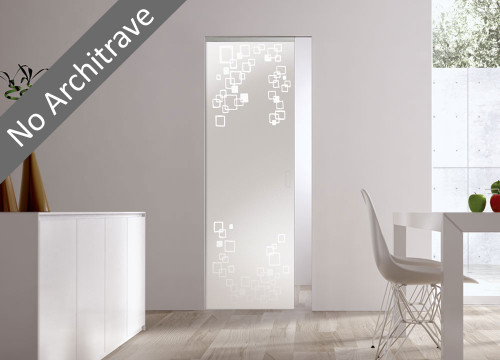 Syntesis® Flush Glass Pocket Door System Patterned RIFLESSI