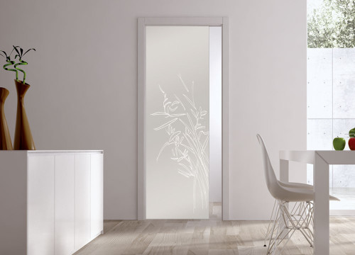 Classic 10mm Glass Pocket Door System Patterned GREEN