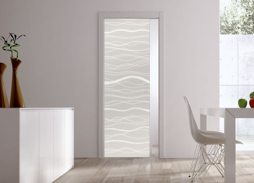 Classic 10mm Glass Pocket Door System Patterned AQUA
