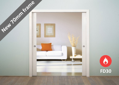 ECLISSE Classic DOUBLE FIRE-RATED Pocket Door System- FD30 with 70mm frame