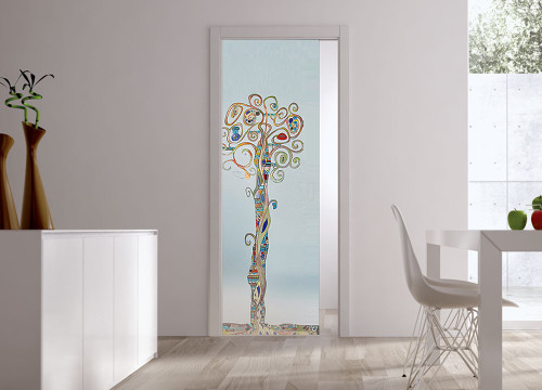 ECLISSE Classic Glass Pocket Door System -Handpainted CHIOMA