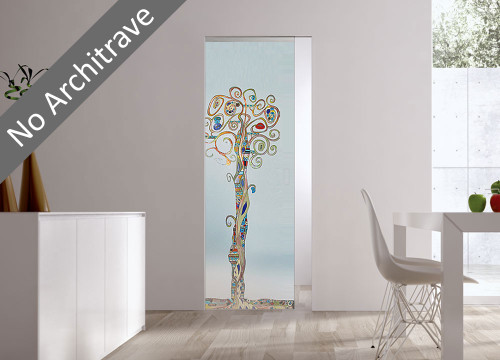 Syntesis® Flush Glass Pocket Door System Handpainted CHIOMA