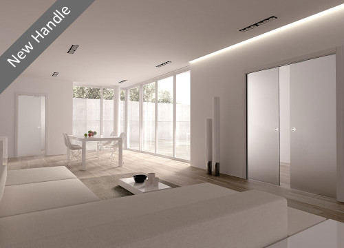 Classic 8mm Glass Pocket Door System with 58 mm round satin stainless steel flush pull handle.