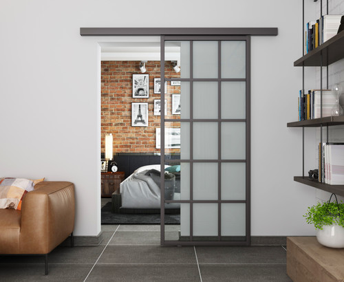 Crittal Style 3x5 Sliding Glass Door with pelmet- with softclose - Clear Glass
